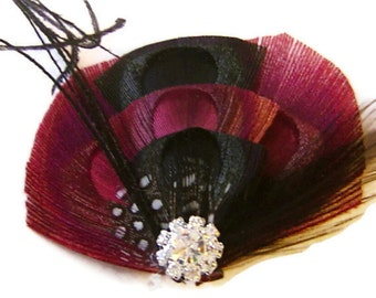 Peacock Hair Fascinator PETITE DARK VALENTINE  Perfect for a Bride or Bridesmaids Burgundy and Black
