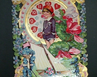 Vintage Valentine Card Girl Sailing Boat, Roses, Stand Up Die Cut To My Valentine Card