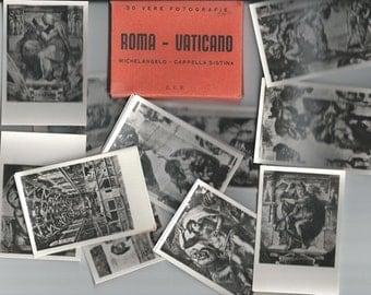 Vintage 30 Small Black and White Glossy Souvenir Photos  Roma Italy, Italian Art Work, Michelangelo