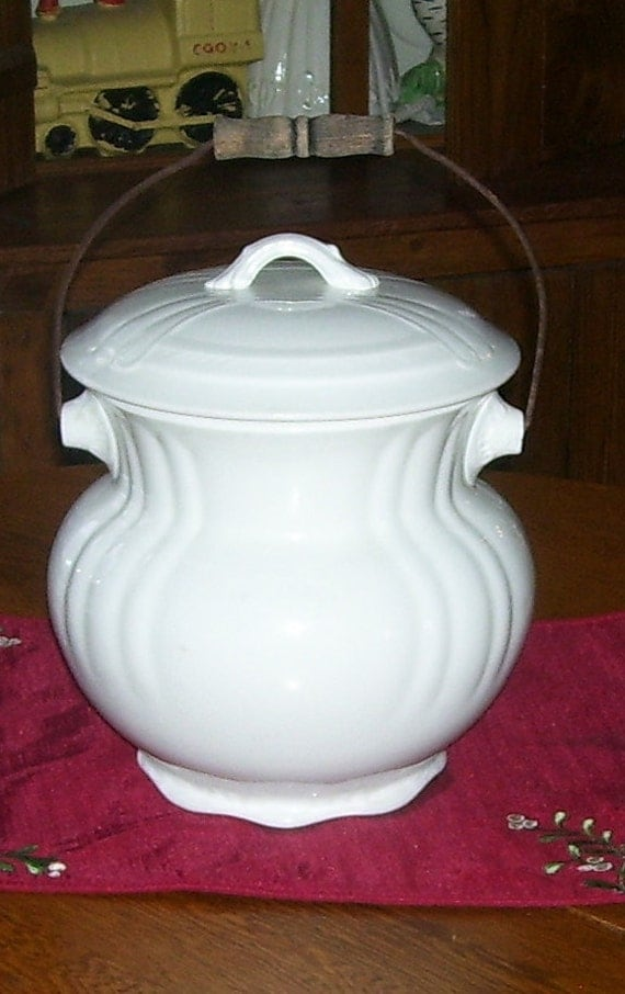 Antique White Ironstone Water Jar with Bail Handle and White Lift Off Lid