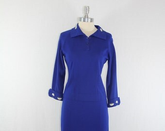 1960s Vintage Sweater and Skirt Set - Bombshell Royal Blue Knit Form Fit Sweater Set