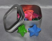 Recycled Crayons Star Shaped in Keepsake Tin, Total of 15 Crayons.  Boy or Girl Kids Unique Party Favors, Crayons.
