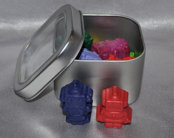 Recycled Crayons Robot Shaped in Keepsake Tin, Total of 12 Crayons.  Boy or Girl Kids Unique Party Favors, Crayons.