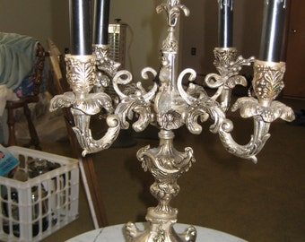 Vintage French Empire Black/Gold/Marble Candelabra Lamp