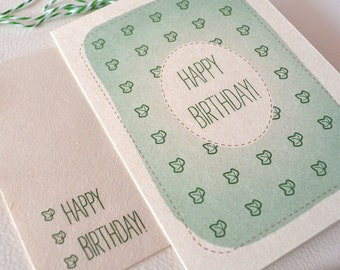 Birthday Card  - Green Ivy Leaf Pattern