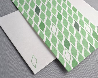 Green Leaf Card with Matching Envelope - Minimalist, Abstract, Blank Inside