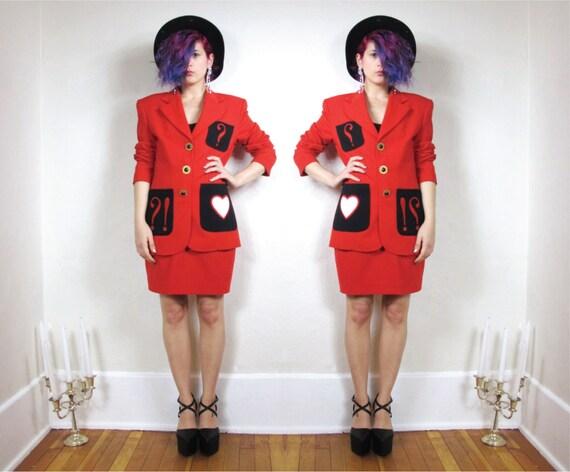 SALE 80s Pop Art Love Red Suit Blazer and Skirt Set (S/M)