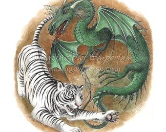 "Dragon and Tiger - 8x10"" Giclee Art Print"