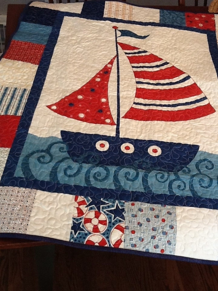 Nautical boat quilt sailing ship baby quilt in blue and red for Little blue truck fabric