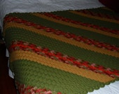 New(Ready to Ship) Crocheted Afghan - Coverlet - Throw - Blanket - Bedspread ''DIAGONAL'' in Green-Mustard -Rust and Reds
