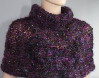 Hand Knitted   Purple Capelet  Shrug Sweater Poncho - Holiday Fashion