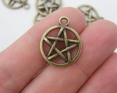 8  Pentagram charms antique bronze tone BC73