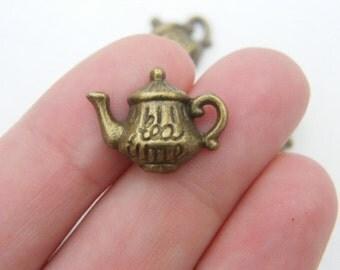 8 Tea Time Teapot  charms antique bronze tone BC74