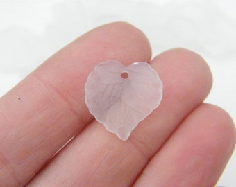 100 White acrylic plastic leaf charms