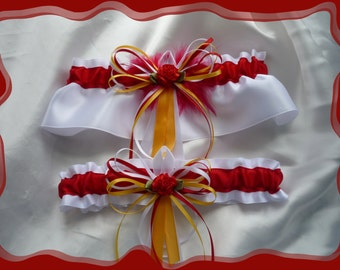 Yellow and Red Organza Wedding Garter Set RB