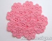 "Carnation Pink 7/8"" Crochet 6-Petal Flower Embellishments Handmade Applique Scrapbooking Fashion Accessories - 16 pcs. (4220-01)"