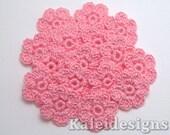 "Carnation Pink 7/8"" Crochet 6-Petal Flower Embellishments Handmade Applique Scrapbooking Fashion Accessories - 16 pcs. (4220-01)"