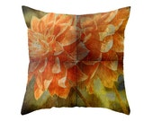 Orange Dahlia decorative pillow, lumbar or square cushion, home decor, floral home accessories