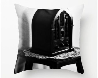The Old Radio black white accent pillow - home decor, nostalgic novelty pillow, scatter cushion, pillow cover, cushion cover,