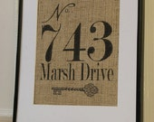 Free US Shipping...Custom Housewarming Burlap Address Print...Great housewarming gift, engagement gift!