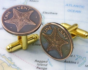 Bahamas  ( Starfish Cufflinks ) -- Genuine Coin Cuff Links -- Unique Gift -  FREE & Reduced SHIPPING - (3-a4)