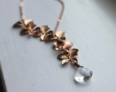 Rose Gold Necklace, Bridal Jewelry, Asymmetrical Necklace, Floral Gemstone Necklace, Flora