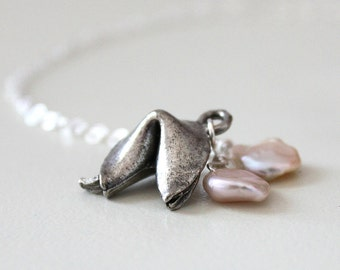 Fortune Cookie Necklace, Charm Necklace, Pearl Jewelry, Sterling Silver, Gift Under 50, Good Fortune