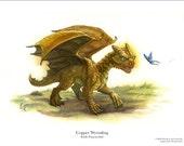 Baby Copper Dragon 8.5 x 11 Print