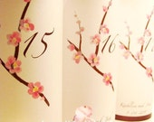15 Pink Cherry Blossom Lumnaries Table Numbers