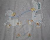 Crib Blanket 1940s SUMMER lightweight cotton appliquéd
