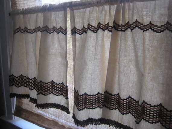 Brown and Cream Sears Cafe Curtain by LynneaMarieVintage on Etsy