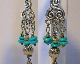 Love Ray Earrings with a Silverheart Charm Turquoise stones  Free Shipping in the USA