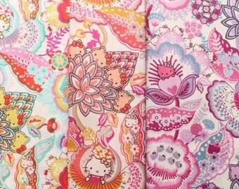 SALE - 3 pcs of Liberty Hello kitty fabrics printed in Japan - Tree of Life Garden  - 2013