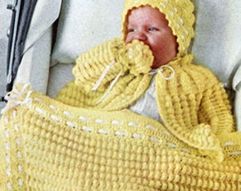 BABY CROCHET PATTERN-  Carriage/Pram/Afghan/ Blanket