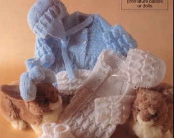 REDUCED Baby Knitting pattern for Baby/Preemie/Reborn Doll Matinee coat, Helmet, Bonnet and Booties