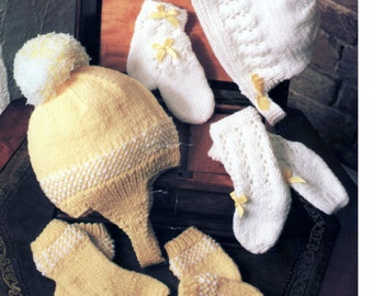 Baby Knitting Pattern or Reborn doll - Mittens, Socks, Booties Bonnet and Helmet