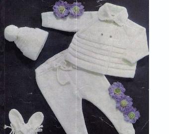 XMAS Baby Knitting Pattern Pram Set DK fit 18 to 22 ins chest