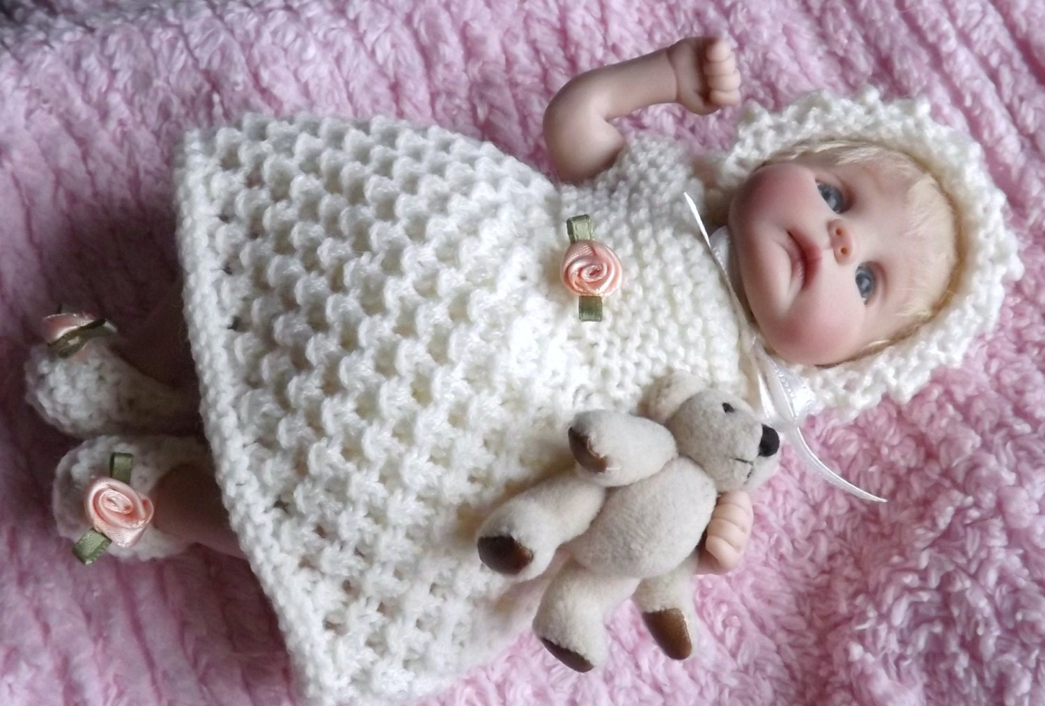 Doll Knitting PATTERN Cream Sorbet for 7 to 8 inch Clay Baby