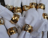 Gold set of 10 - Vintage Rhinestone Napkin Rings - up-cycled & repurposed from vintage rhinestone jewelry  - Unique decor