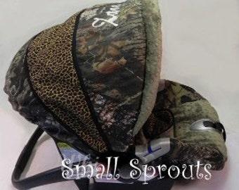 Mossy Oak Breakup/Cheetah Wild  Infant Car Seat Cover 5 piece set