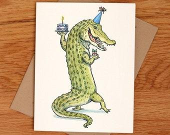 Birthday Gator, individual birthday card.
