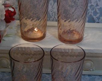 Vintage Arcoroc France Rosaline Pink Swirl Water Ice Tea Tumbler Glass, Set of Four, Mid Century Dinnerware Glassware, Pink Depression Style