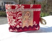 Needle book, sewing needle case kitsh in red fabric shabby chic retro woman
