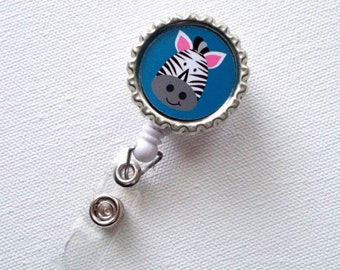 Zebra Blue - Retractable ID Badge Reel - Name Badge Holder - Cute Badge Reel - Nurse - Pediatric Badge Holder - Nursing Badge