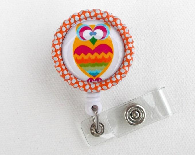 Orange Zig Zag Owl - ID Badge Holder - ID Badge Reel - Pediatric ID Badge - Cute Badge Reel - Peds Badge