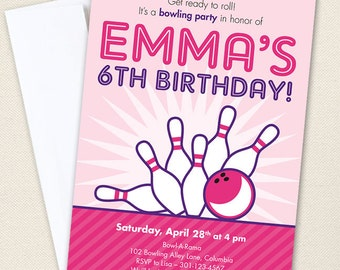 Pink Bowling Party Invitations - Professionally printed *or* DIY printable