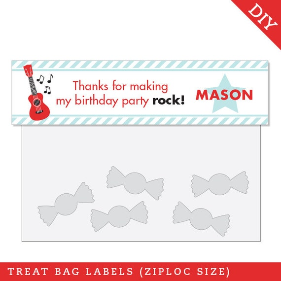 Rock Star Party - Personalized DIY printable treat bag label