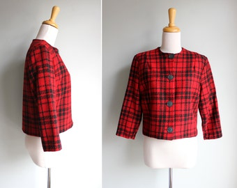 FINAL SALE Vintage 1950s Buffalo Check Cropped Jacket- Crop Red Black Winter Jacket Coat- Size Small or Medium S M