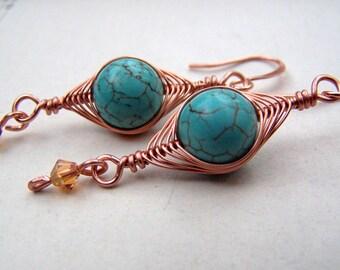 Turquoise Earrings Copper Earrings Herringbone Copper Jewelry Geometric Earrings Wire Wrapped Jewelry Turquoise Jewelry