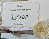 2 Thank You Parent Cards. For Family, Friends or Wedding Party Cards.  Paper Flower
